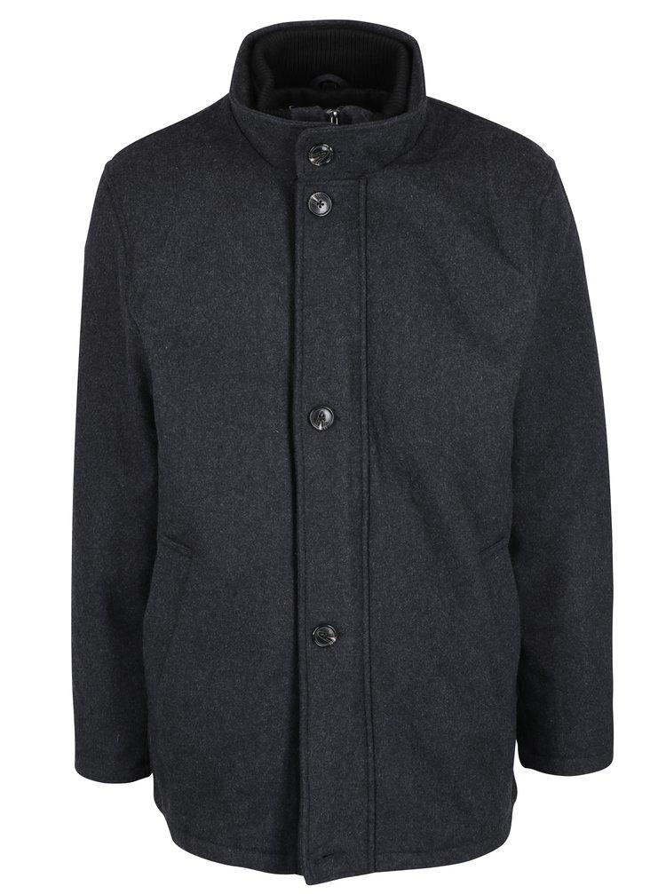 Tmavě šedý vlněný zimní kabát s límcem Seven Seas Harrison