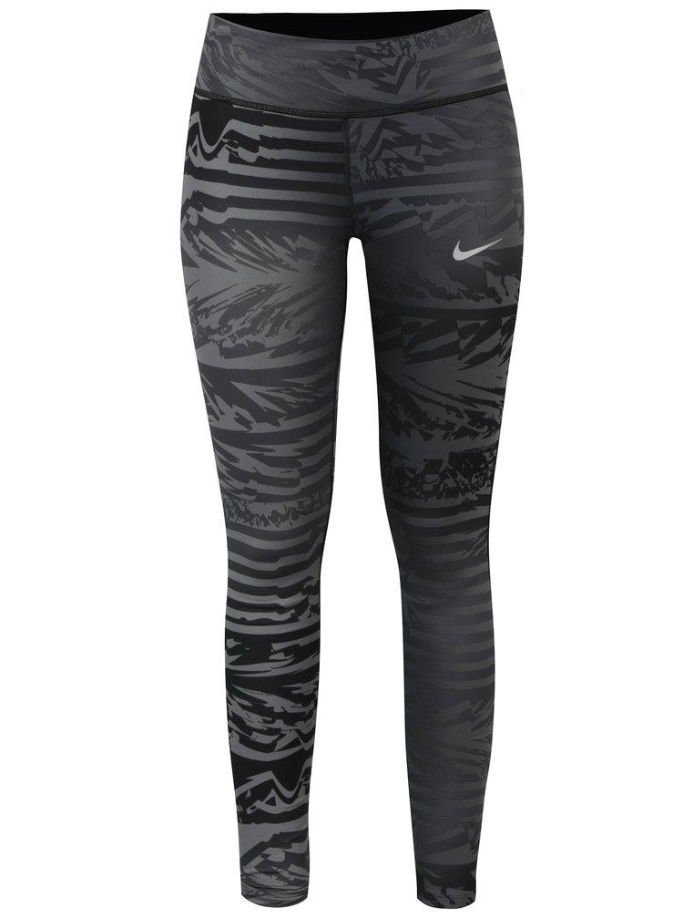 Colanti sport gri inchis cu print pentru femei - Nike
