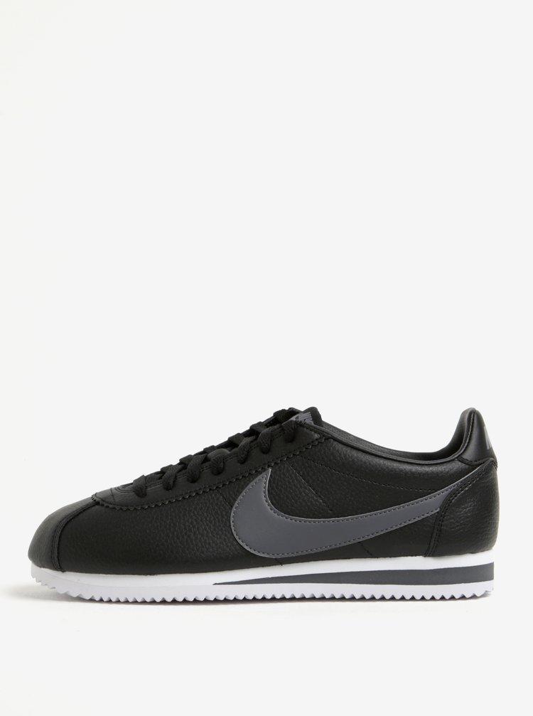 Pantofi sport negri din piele cu logo pentru barbati Nike Classic Cortez