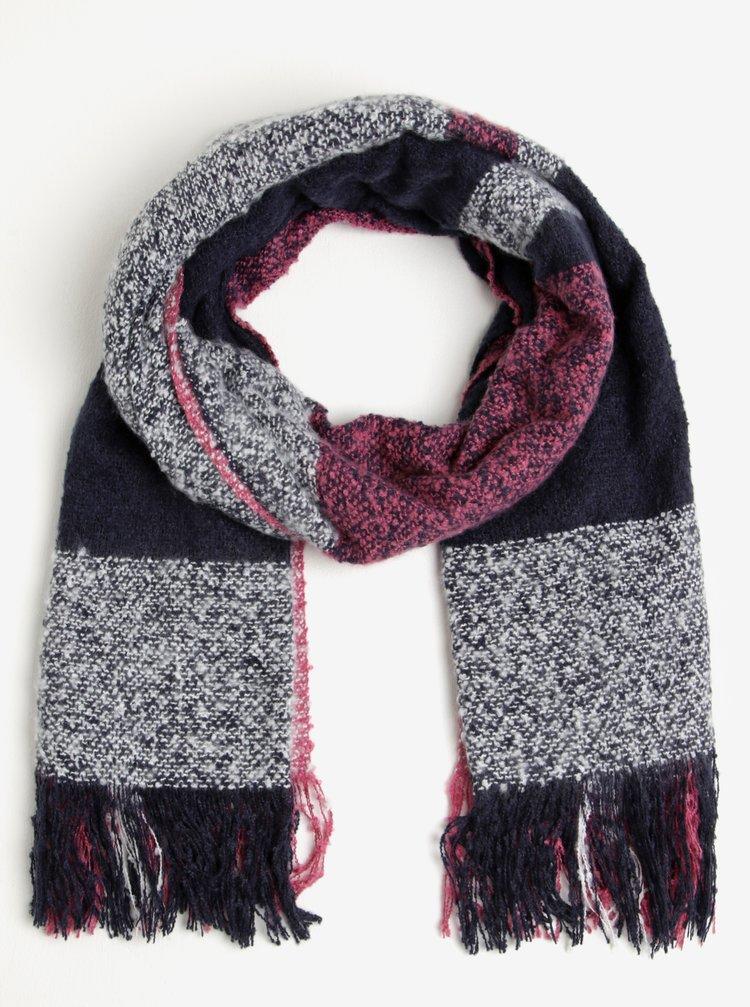 Fular roz&albastru inchis in carouri cu franjuri M&Co