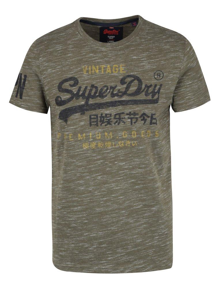 Tricou kaki cu print pentru barbati - Superdry Premium
