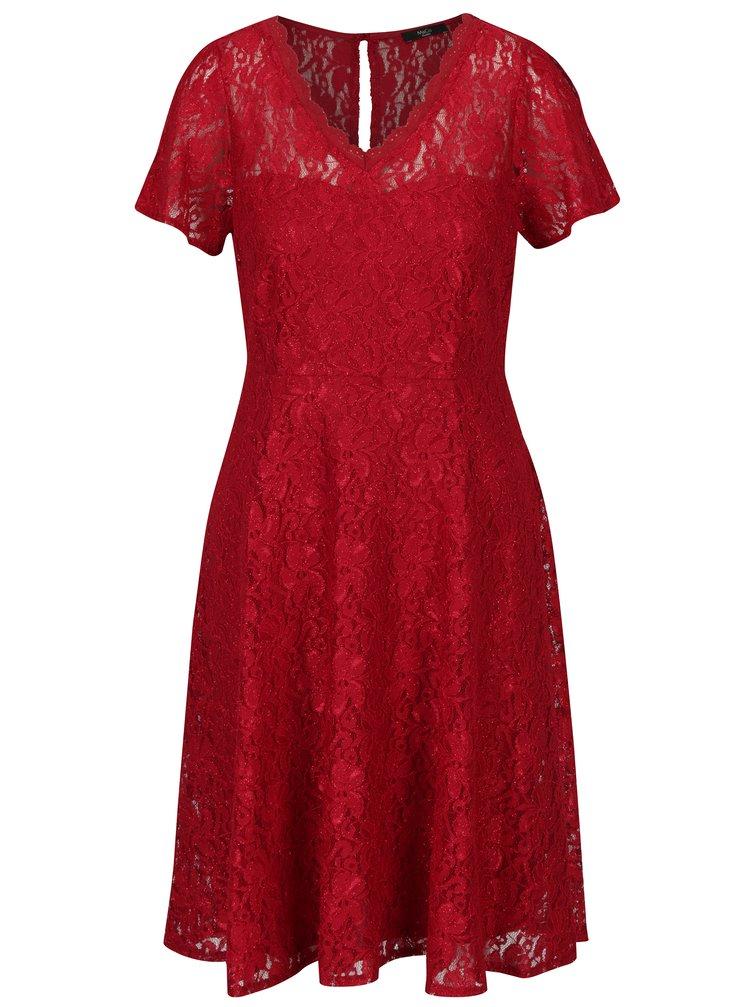 Červené krajkové šaty s véčkovým výstřihem M&Co
