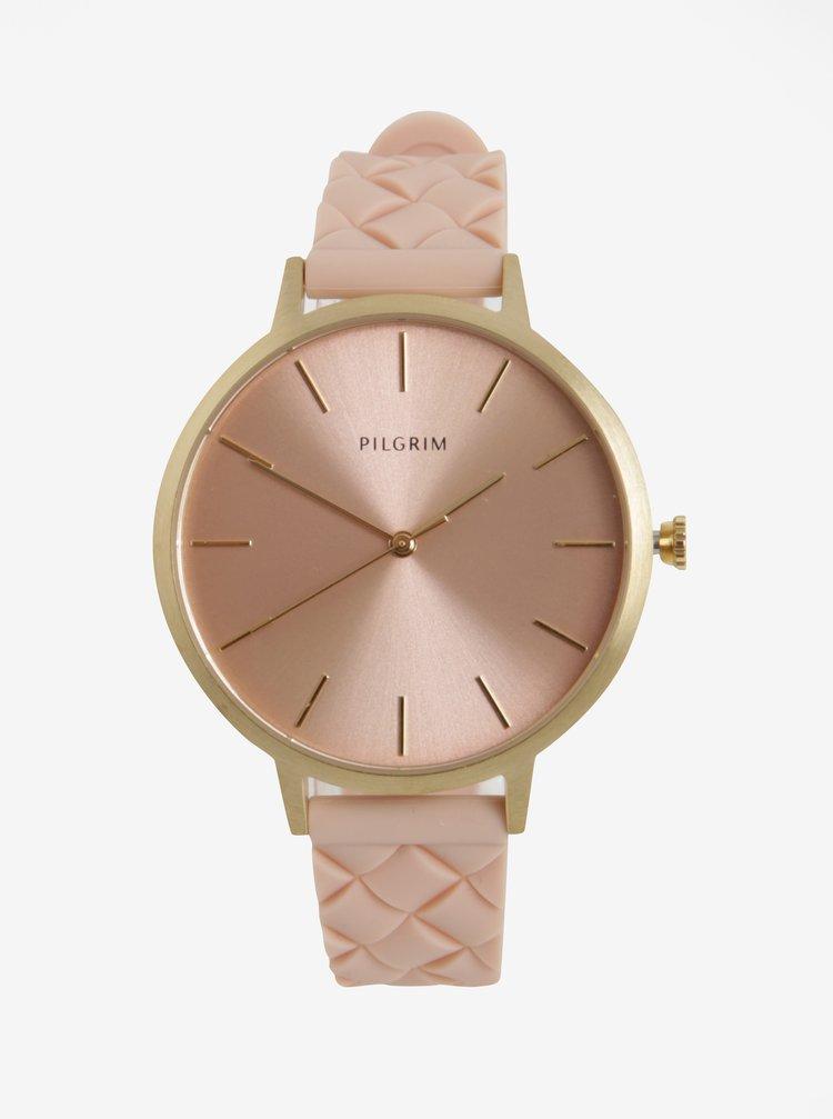 Dámské pozlacené hodinky s růžovým silikonovým páskem Pilgrim