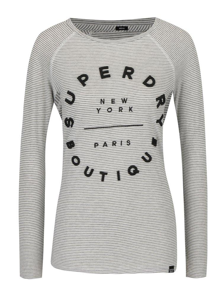 Bluza gri&crem in dungi cu broderie 3D Superdry Applique