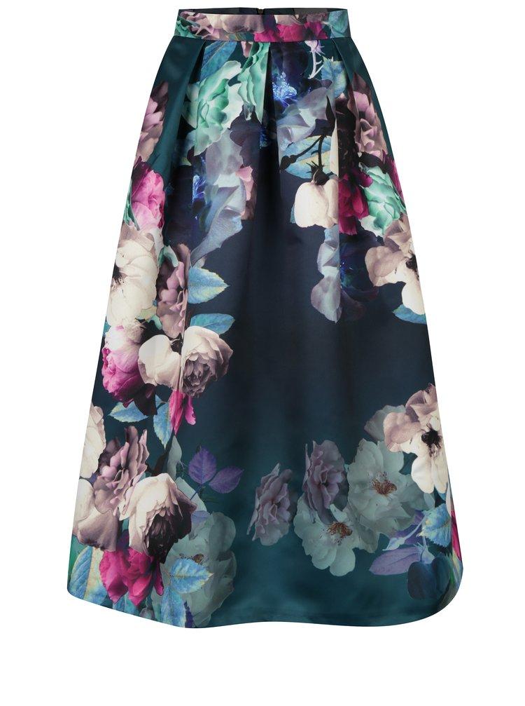 Tmavě zelená květovaná sukně Closet