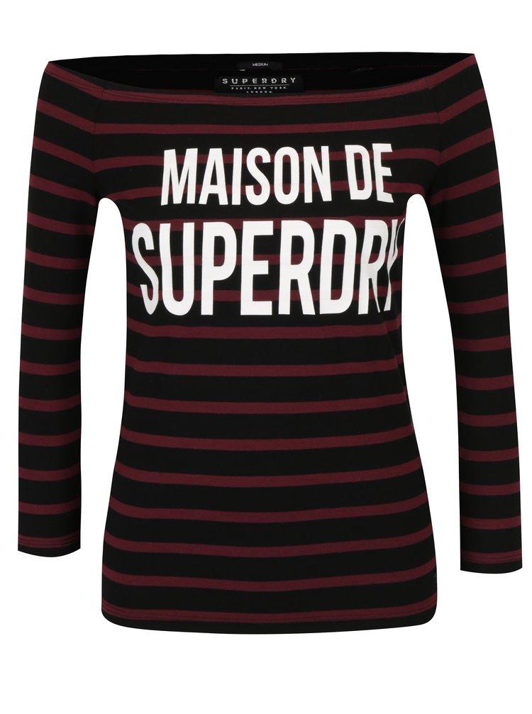 Vínovo-černé dámské pruhované tričko s potiskem s lodičkovým výstřihem Superdry Graphic