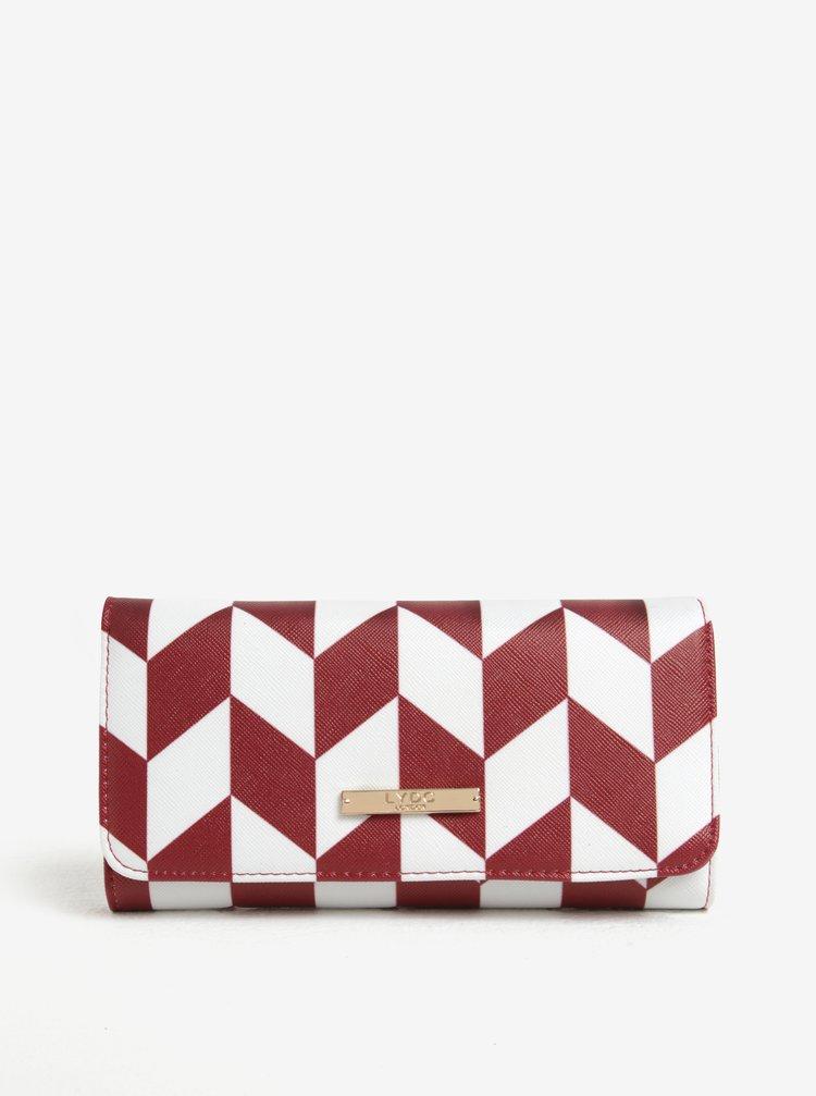 Portofel bordo&alb cu model geometric  LYDC