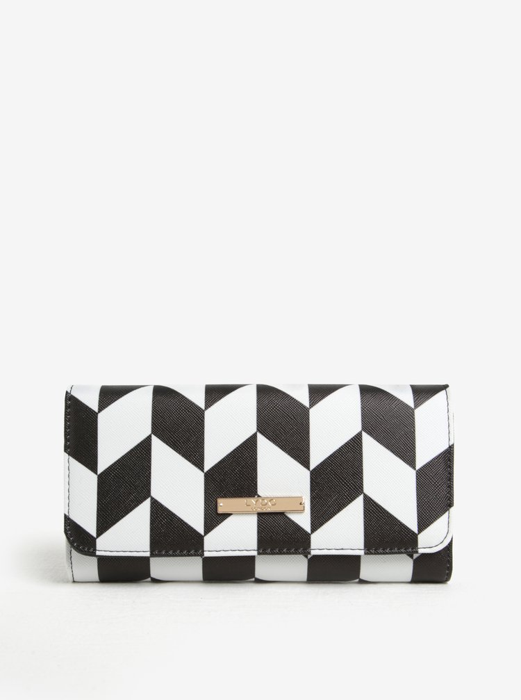 Portofel negru&alb cu model geometric  LYDC