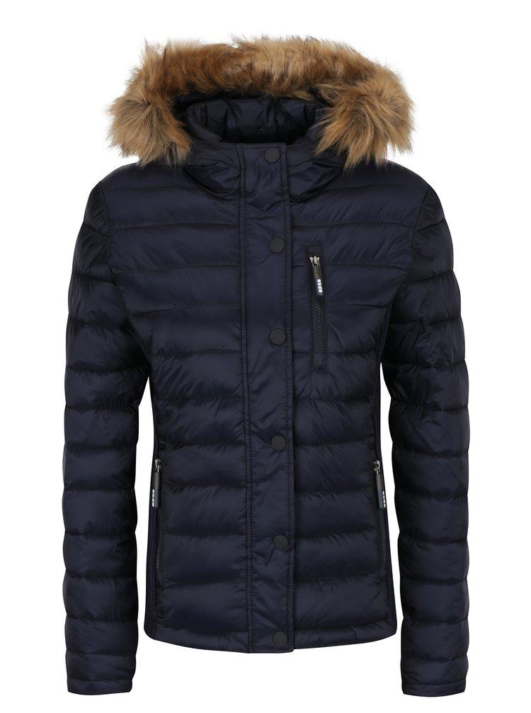 Geaca matlasata bleumarin cu gluga si blana artificiala pentru femei - Superdry Luxe