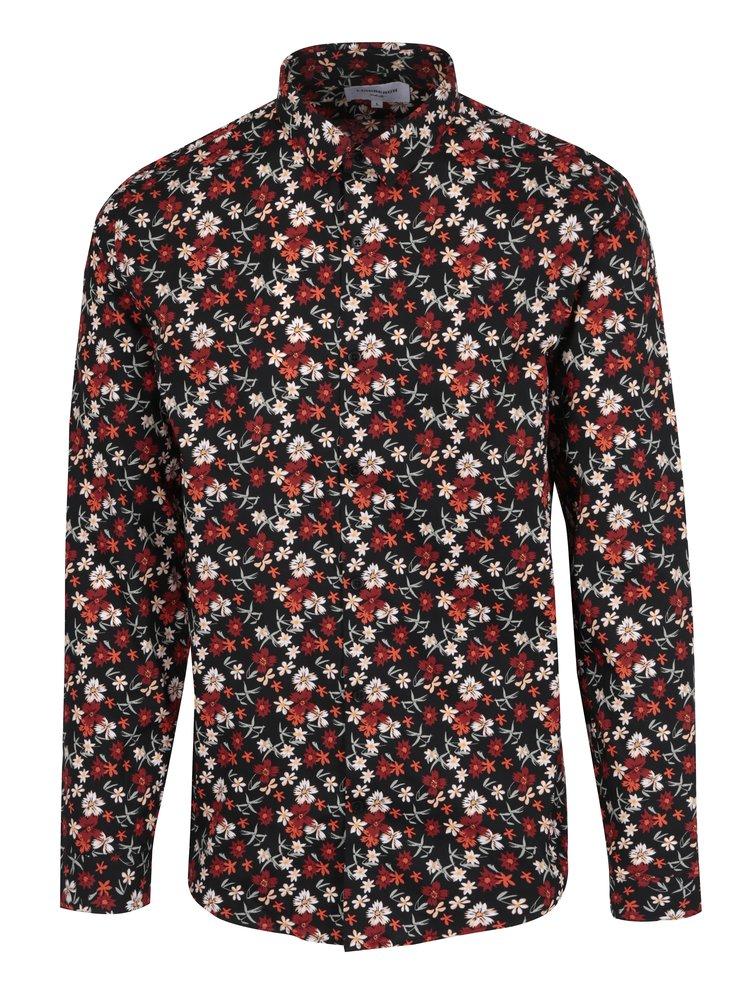 Camasa negru&rosu cu print floral Lindbergh