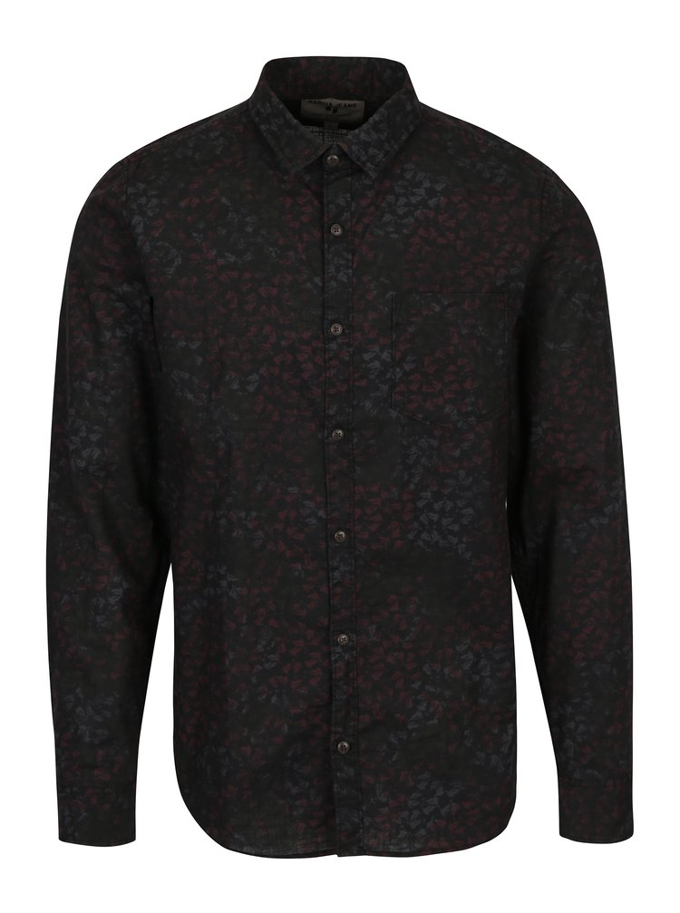 Camasa neagra cu print frunze pentru barbati Garcia Jeans