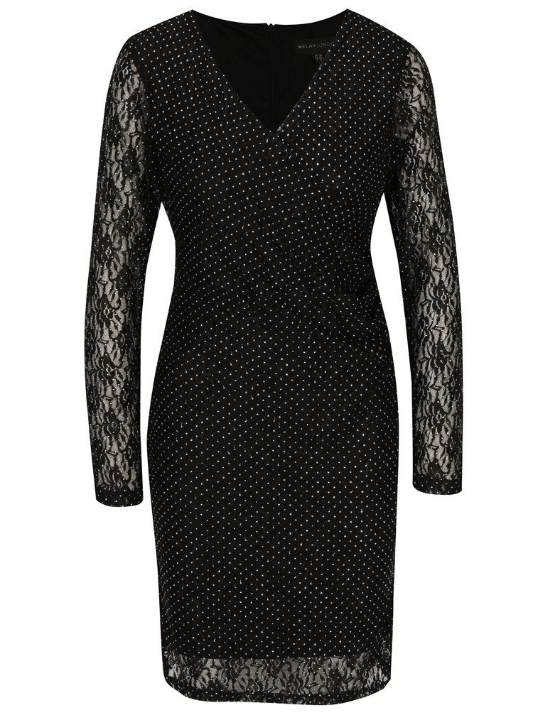 Černé krajkové šaty s překládaným výstřihem Mela London
