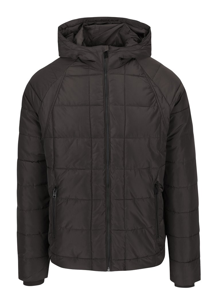 Tmavě šedá pánská prošívaná zimní bunda Garcia Jeans