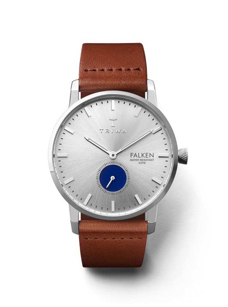 Pánské hodinky ve stříbrné barvě s hnědým koženým páskem TRIWA Blue Eye Falken