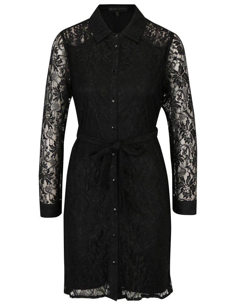 Černé krajkové košilové šaty se zavazováním v pase Mela London