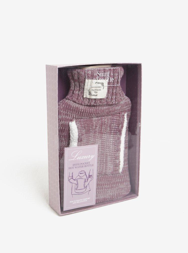 Světle fialová nahřívací láhev s kapsou na ruce Something Special