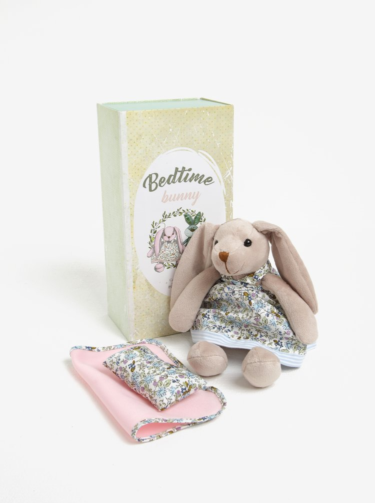 Béžový plyšový králíček s přikrývkou a polštářem Something Special