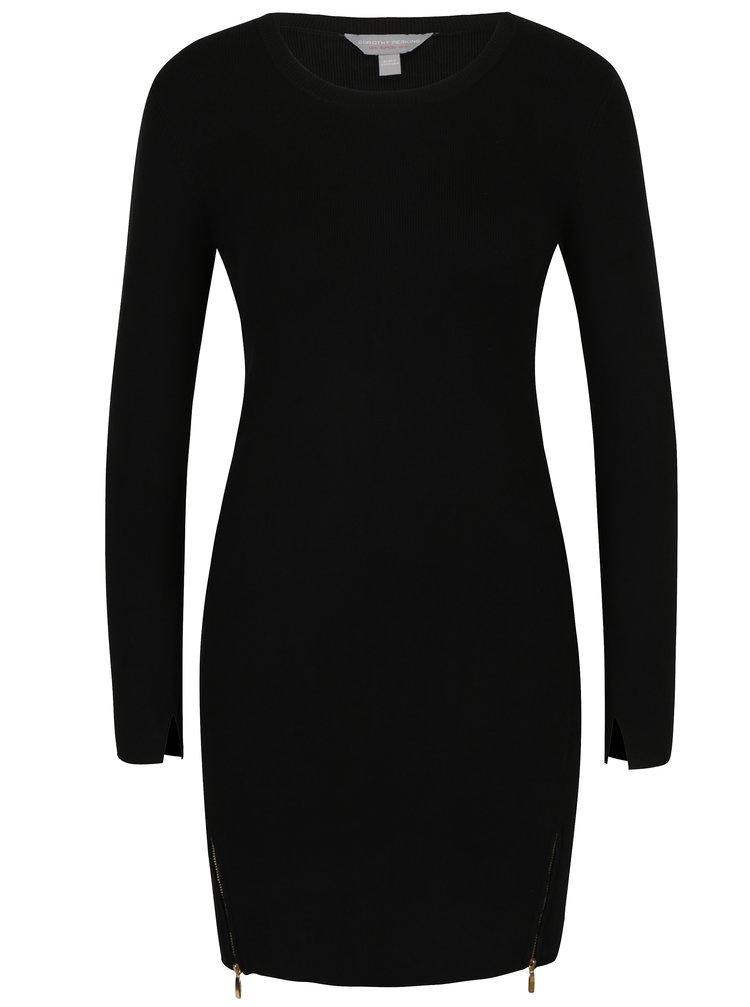 Černé svetrové šaty s ozdobnými zipy Dorothy Perkins Petite