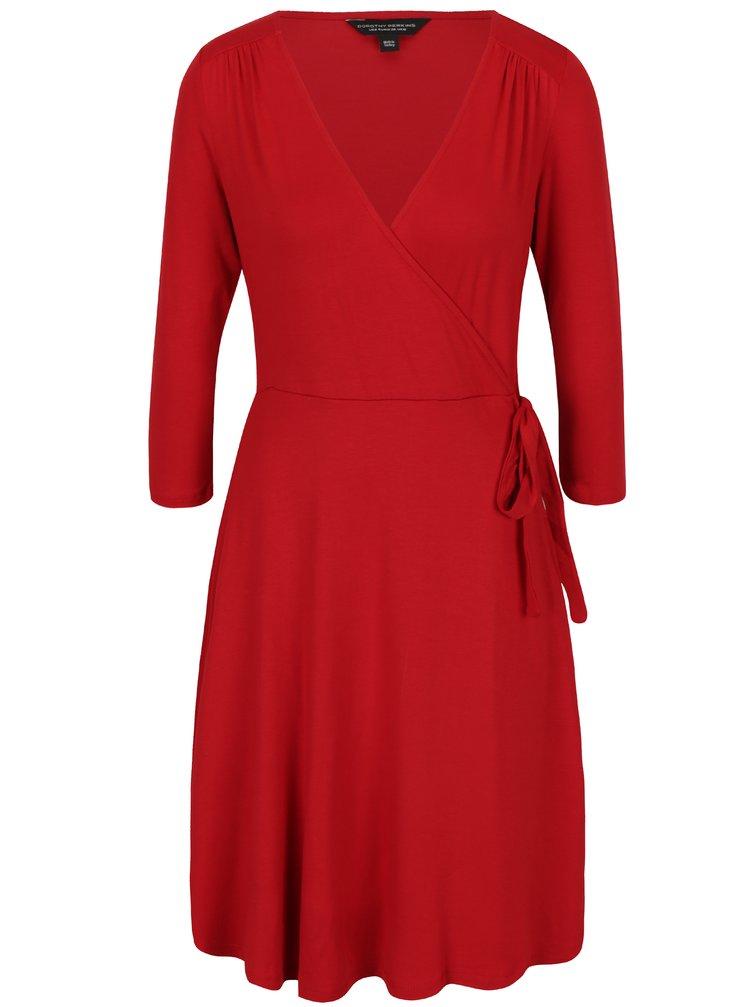 Červené šaty s překládaným výstřihem Dorothy Perkins