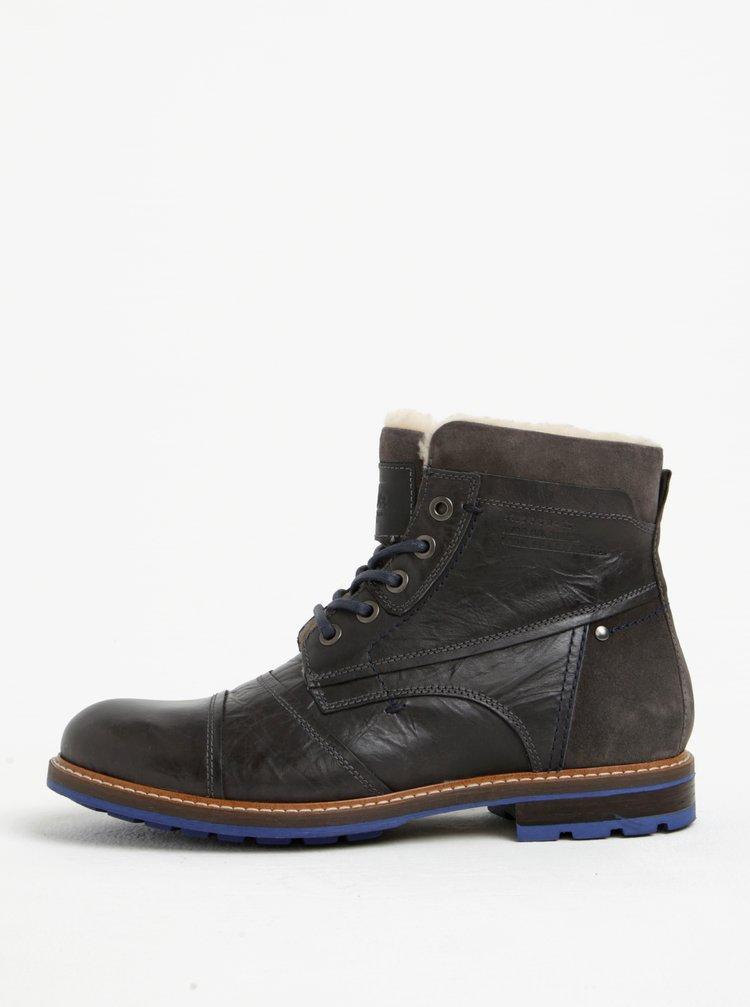 Tmavě šedé pánské kožené kotníkové zimní boty s.Oliver