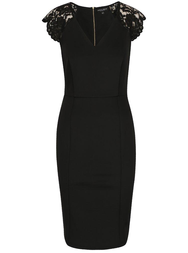 Černé šaty s krajkovými detaily Dorothy Perkins