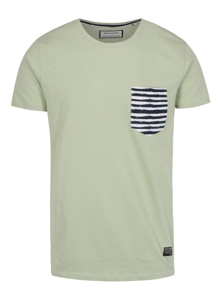 Tricou verde cu buzunar in dungi Shine Original