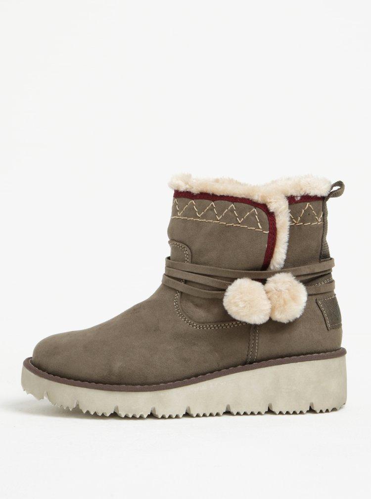 Khaki dámské zimní kotníkové boty v semišové úpravě s.Oliver