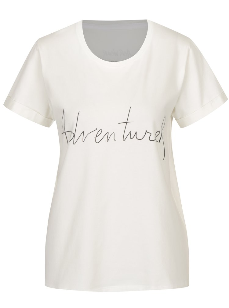 Tricou crem&negru cu print text  Aer Wear Adventurer