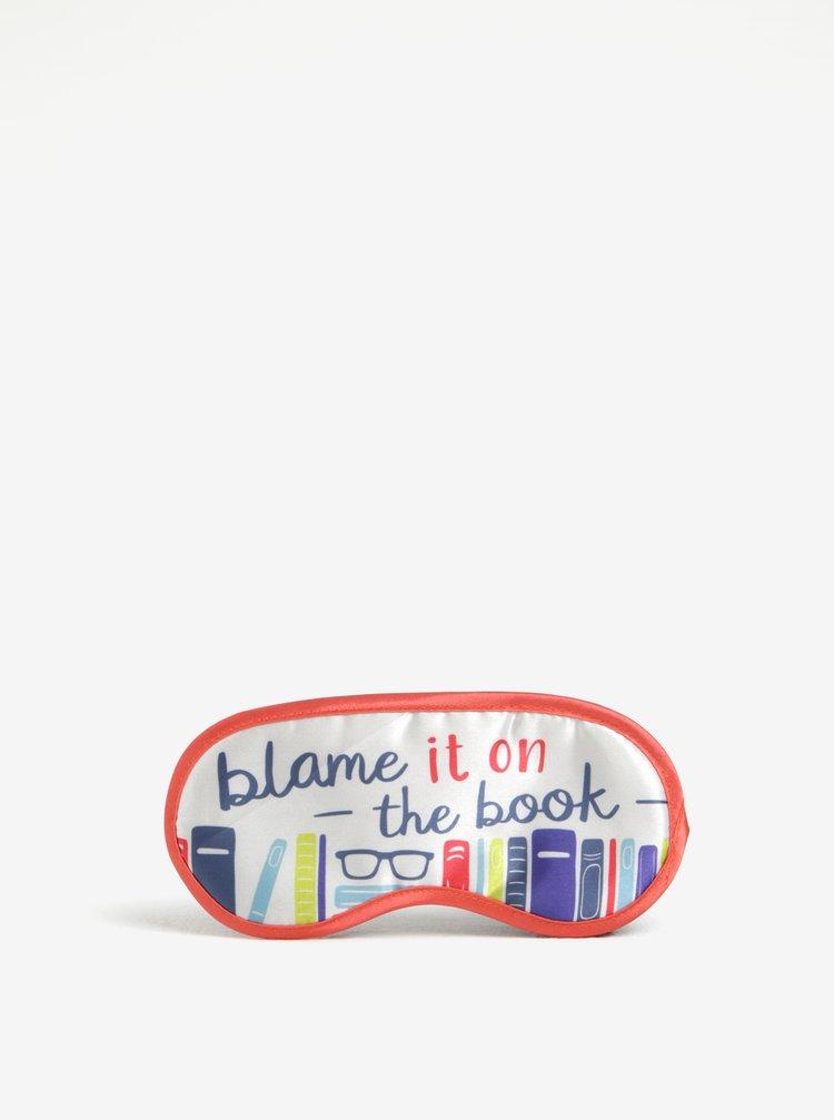 Červeno-šedá maska na spaní s nápisem Blame it on the Book CGB