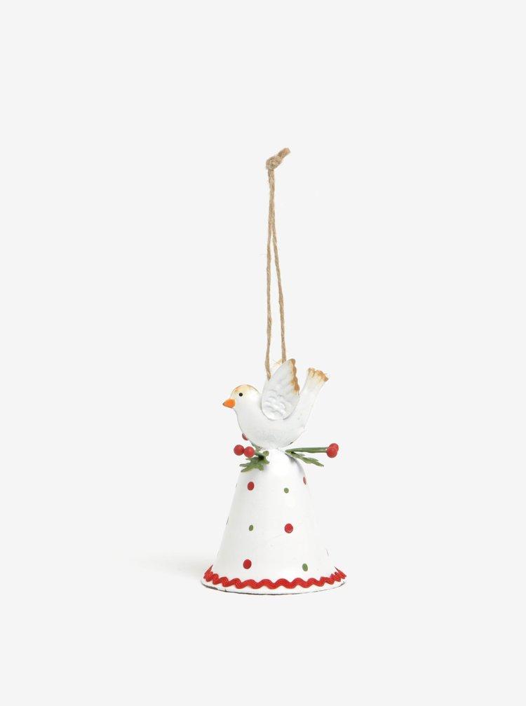Červeno-bílý vánoční závěsný zvonek  CGB