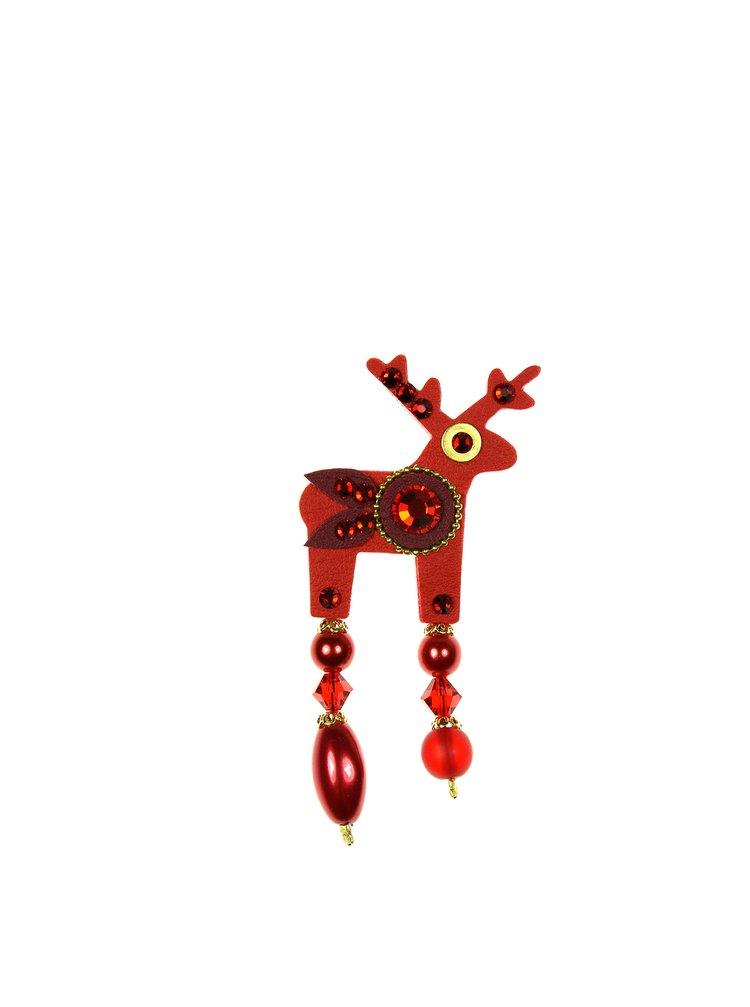 Červená malá brož jelínek s komponenty Preciosa Components Deers