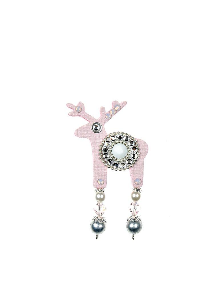 Světle růžová malá brož jelínek s komponenty Swarovski Crystals Deers