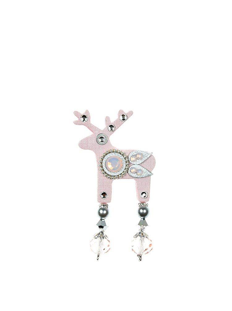 Brosa decorativa roz deschis cu perle si pietre decorative - Preciosa Components Deers