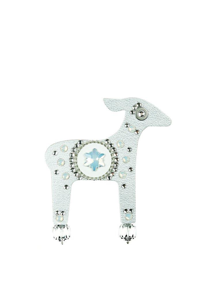 Brosa argintie cu perle decorative si cristale  Swarovski Crystals Deers