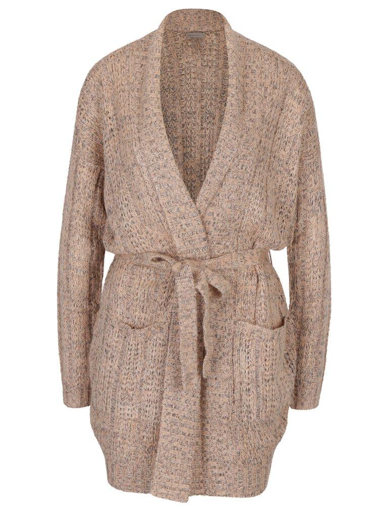 Cardigan tricotat roz prafuit cu cordon in talie si buzunare - VERO MODA Manda