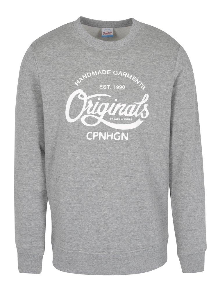 Bluza gri deschis&alb cu print text  Jack & Jones Originals Softneo