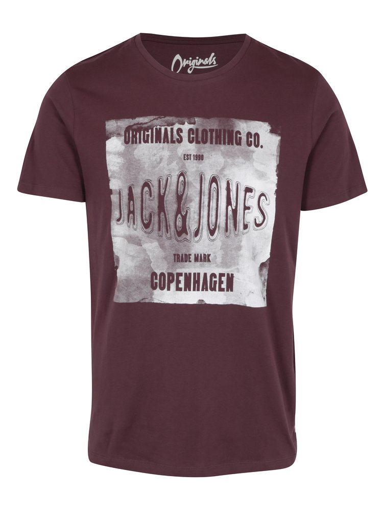 Tricou bordo&crem cu print text Jack & Jones Originals Stood Tee