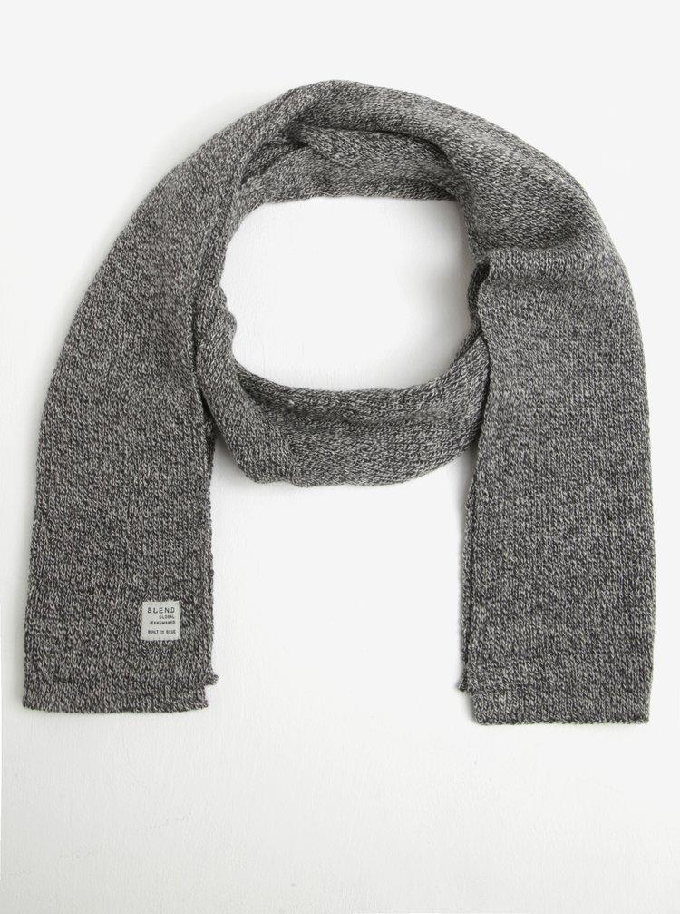 Fular tricotat crem cu negru Blend