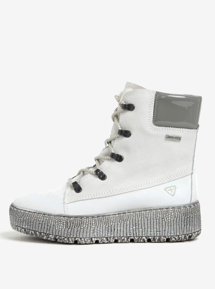 Krémové kotníkové kožené boty s vlněnou podšívkou Tamaris