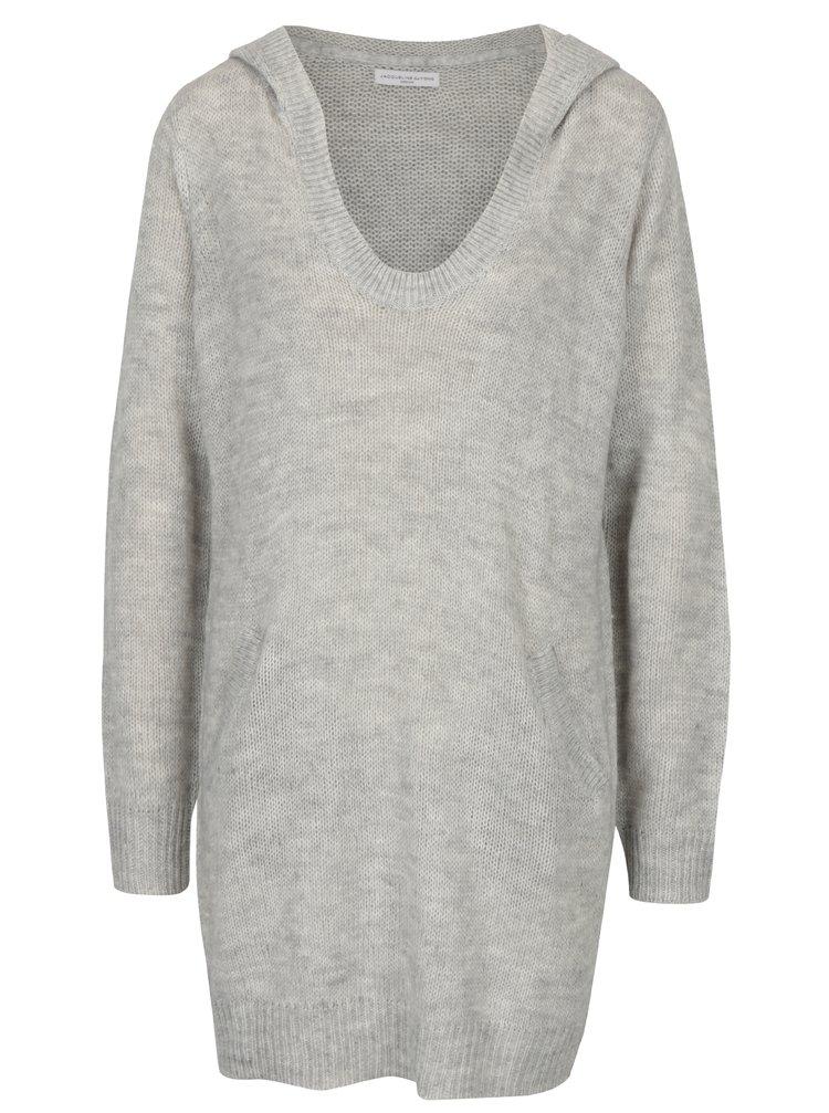Světle šedý žíhaný dlouhý svetr s kapucí Jacqueline de Yong Aika