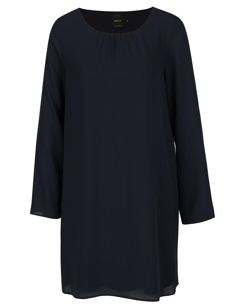 Tmavomodré šaty s volánmi na rukávoch ONLY Diana