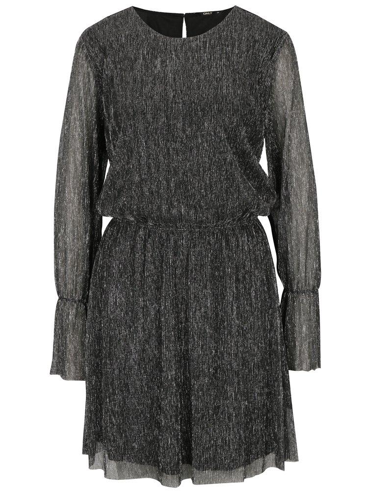 Stříbrno-černé třpytivé šaty s dlouhým rukávem ONLY Yade