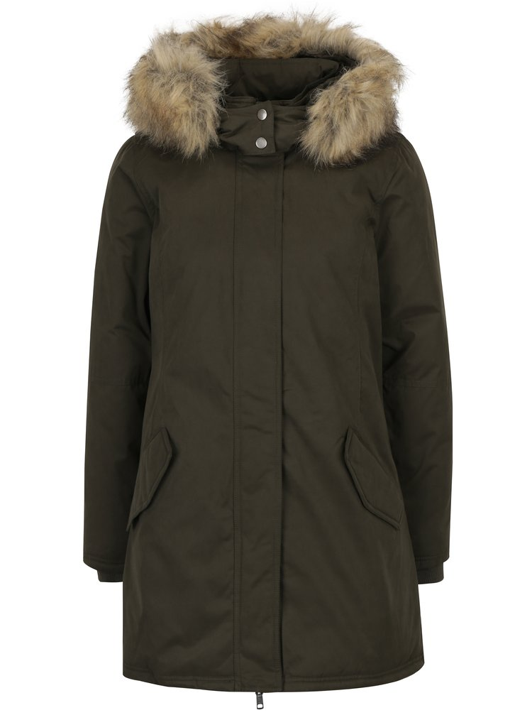Khaki kabát s kožíškem ONLY Sarah