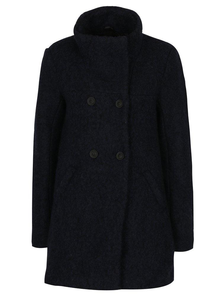 Tmavomodrý melírovaný kabát s prímesou vlny ONLY New Sophia