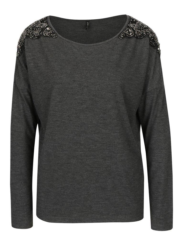 Tmavě šedé žíhané tričko s korálkovou aplikací ONLY Mirabella