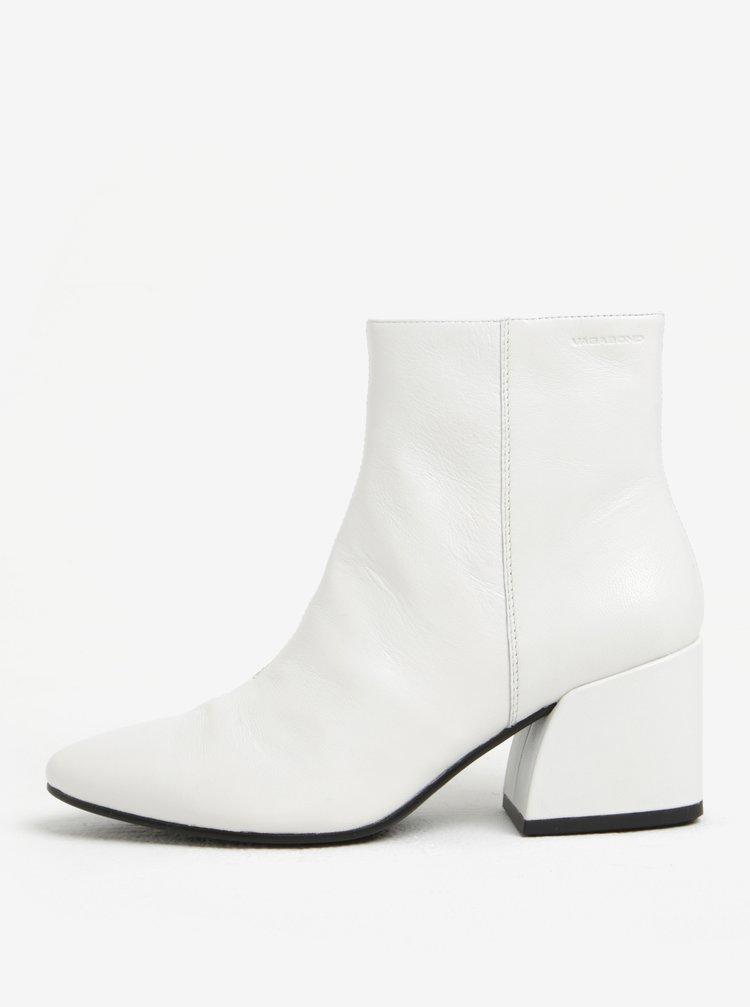 ... Bílé dámské kožené kotníkové boty na podpatku Vagabond Olivia ccf846f48d