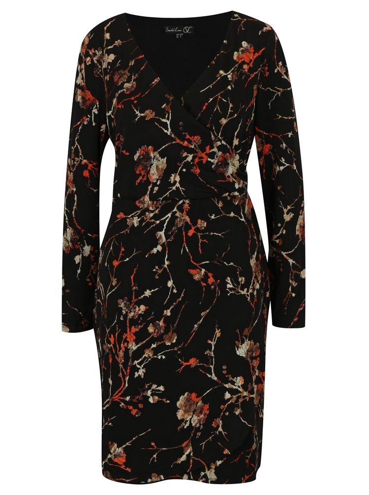Černé vzorované šaty s překládaným výstřihem Smashed Lemon