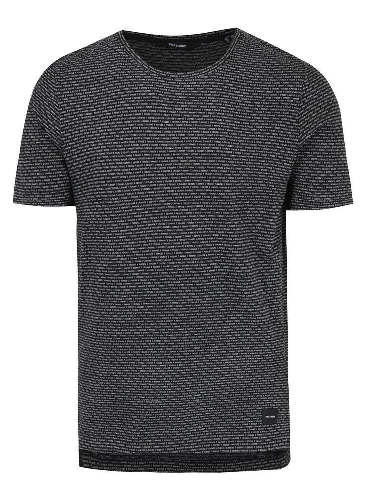 Tricou negru&gri cu model geometric ONLY & SONS Marshall