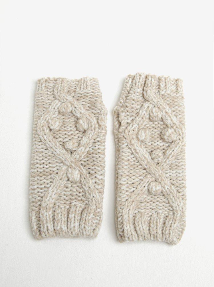 Mansete bej tricotate cu model in relief Dorothy Perkins