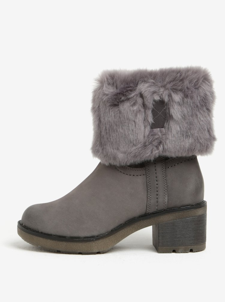 Tmavě šedé kožené zimní boty Tamaris